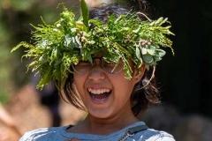 Lā 'Ulu - Wearing native lei po'o