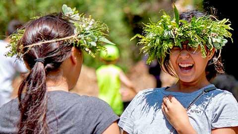Wearing native lei po'o